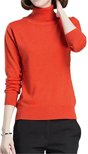 EMAOR Women's Fashion Basic Solid Turtleneck Knit Sweater