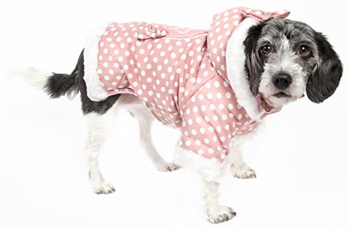 PET LIFE 'Couture-Bow' Polka Dot Designer Fashion Pet Dog Hooded Sweater Hoodie, Medium, Pink Polka