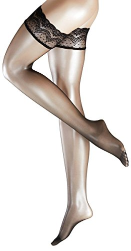 Falke Womens Invisible Deluxe 8 Denier Ultra-Transparent Matte Stay Up Stockings - Black - Large