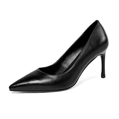 Frauen Damen High Heels Weibliche Leder Schwarz Flach Temperament Arbeitsschuhe Hochzeit Büro Stiletto Schuhe Black