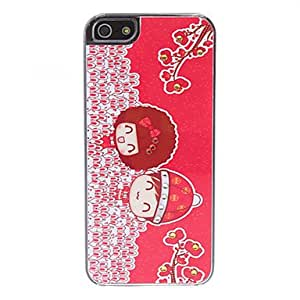 QJM Cartoon Lovers Pattern Hard Case for iPhone 5/5S