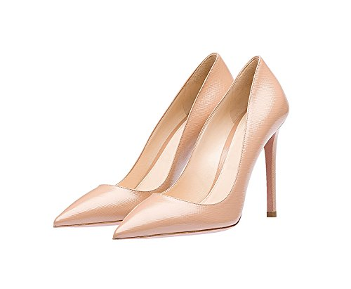 Guoar Womens Stiletto Big Size Shoes Pointed Toe Ladies Solid Pumps for Work Prom Dress Party G-nude Cow Leather W6P1E82