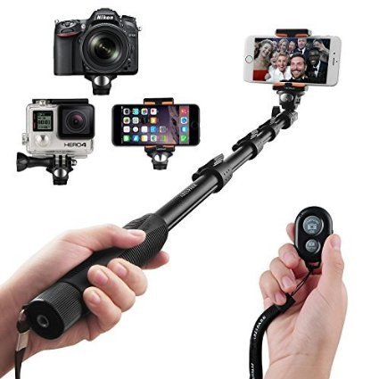 Selfie Stick, Arespark Wireless Extendable Selfie Monopod Portable Selfie Pole for Gopros, DSLR, Cameras & iPhoneX 8 7 Plus Android Samsung Galaxy S9 S8 with Bluetooth Remote Control