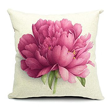 Pillow Cases Standard Size, CaseShell® Cotton Linen Square Decorative Throw Pillow Case Cushion Cover Peony Flower 18