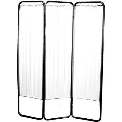 (3 Panel Feather Lite Medical Folding Privacy Screen WITH CASTERS by Presco Webber - White)