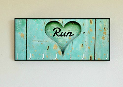 Race Medal Holder / Running Medal Hanger RUN Carved Heart- Wood Wall Mounted Medal Organizer. CUSTOMIZATION Available