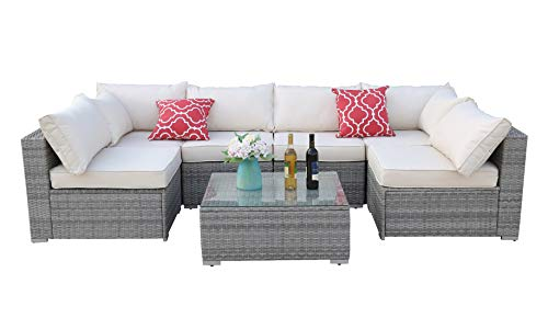 Do4U Patio Sofa 7-Piece Set Outdoor Furniture Sectional All-Weather Wicker Rattan Sofa Beige Seat Back Cushions, Garden Lawn Pool Backyard Outdoor Sofa Wicker Conversation Set 3015-GRY-BEG