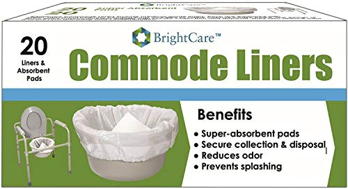 (Commode Liners (20 COUNT) - Sanitary Bag Liners with Odor Reducing Absorbent Gelling Pad for Bedside Commode Pail Toilet - By BrightCare)