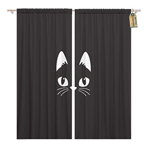 Golee Window Curtain Face Simple Cartoon Cat on Halloween Head Black Cute Home Decor Rod Pocket Drapes 2 Panels Curtain 104 x 96 inches