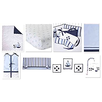 Image of Baby Bacati - Little Sailor 10 Piece Boys Crib Set with Bumper Pad 100 Percent Cotton