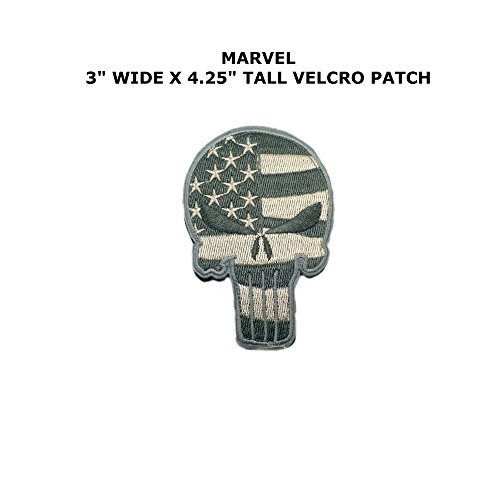[Punisher Superhero Embroidered Hook and Loop Tactical Comics Cartoon Theme Logo Patch] (Punisher Cosplay Costume)