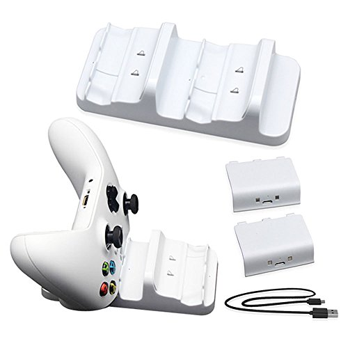 HONGYE Xbox One S Charger Dual Dock Charging Station with 2 Battery Packs and USB Charging Cable for Xbox One Wireless Controller(White)