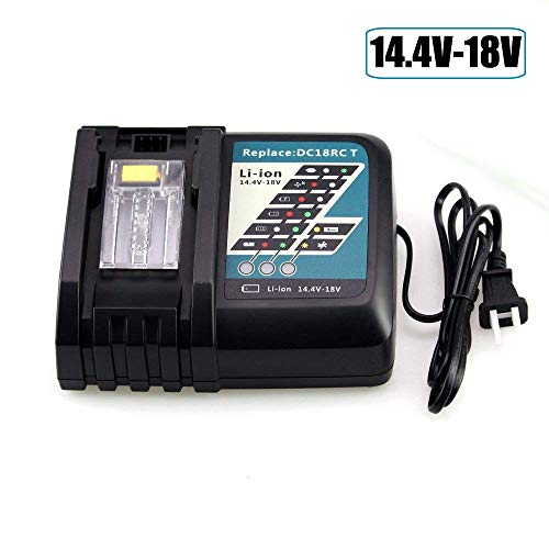 Battery Charger for Makita 18V, Fhybat Replacement DC18RC 14.4-18 Volt BL1815 BL1830 BL1840 DC1850 Lithium Ion Charger