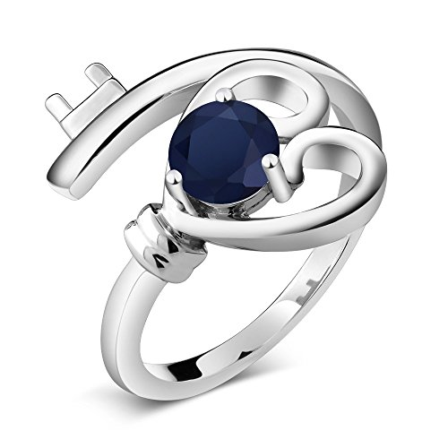 0.60 Ct Round Blue Sapphire 925 Sterling Silver Ring by Gem Stone King