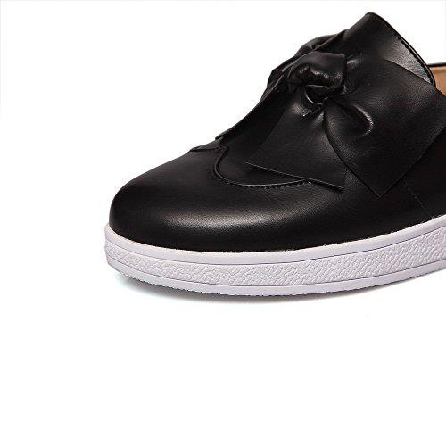 AllhqFashion Damen PU Leder Niedriger Absatz Rund Zehe Rein Ziehen auf Pumps Schuhe Schwarz