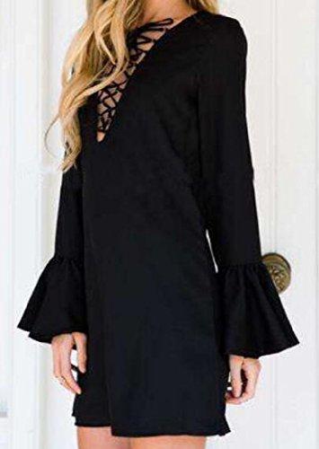 Les Femmes Coolred Profondes Robes Sangles Croisées Club V-cou Robe De Soirée Noire
