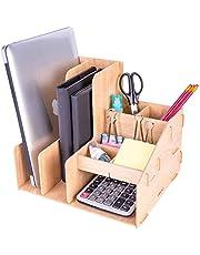 Deli Wooden Magazine File Book Holder Desktop Organizer Vertical Folder with Pencil Holder and Storage Baskets for Desk Accessories, 8 Compartments