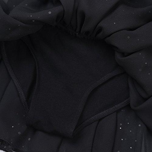 Filles Tiaobug Longues Manches Gymnastique Robe Fée Danse Classique En Maille Brillant Justaucorps Noir
