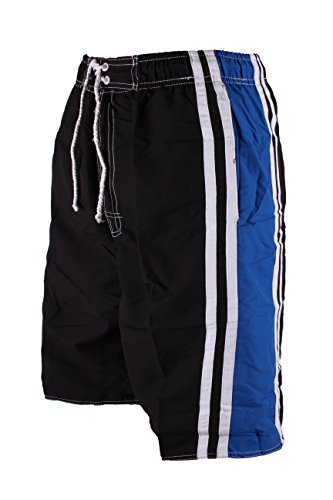 Med Trunk - North 15 Men's Board Beach Swim Trunks Shorts with Pokcets-Med-5107-Blk
