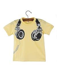 Changeshopping Boy Summer Headphone Short Sleeve Tops Blouses T Shirt Clothes