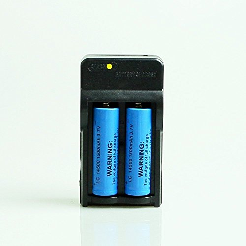 Yueling@ 2Pcs 1200mah 3.7V 14500 Rechargeable Blue Li-Ion Battery for Torch Flashlight with Dual Travel Charger