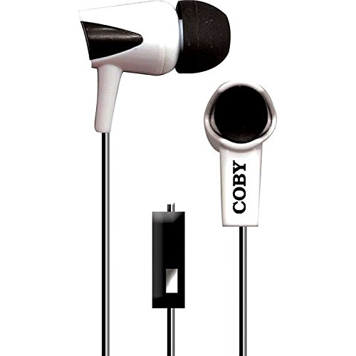 - Coby CV-E122-WT Tangle-Free Two-Tone Flat Cable Stereo Earbuds CVE122 White