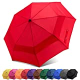 Fidus Compact Windproof Vented Automatic Travel Umbrella With Double Canopy - Large Lightweight Folding Car Golf Umbrella for Women Men Kids-red