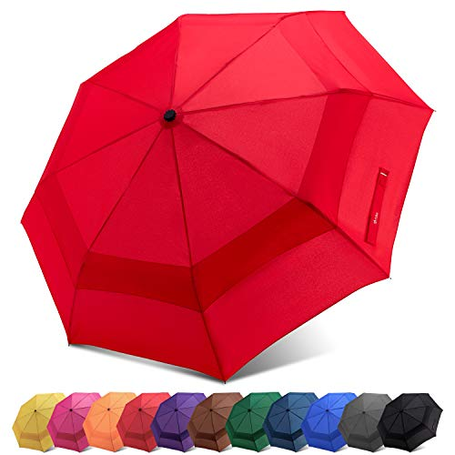 (Fidus Compact Windproof Vented Automatic Travel Umbrella With Double Canopy - Large Lightweight Folding Car Golf Umbrella for Women Men Kids-red)