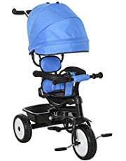 Qaba Multi-Function Baby Tricycle 4 in 1 Stroller/ Kid Trike with Parent Push Handle Adjustable Canopy Detachable Guardrail Safety Belt Foldable Footrest Storage Basket for Age 6-60 Months Blue