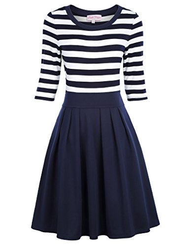 Belle Poque Retro Pleated Midi Dress for Women Navy Blue Size S BP316-2
