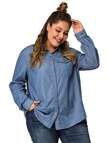 Agnes Orinda Women's Denim Shirts Plus Size Long Sleeve Chest Pocket Button Down Chambray Shirts 3X Blue