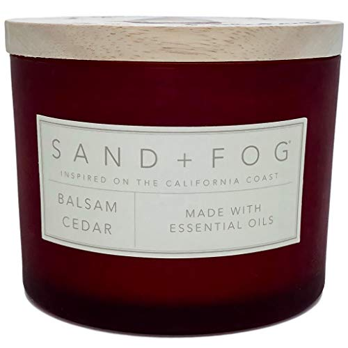 (Sand and Fog Balsam and Cedar Scented Candle with Wooden Lid and Santa Gnome)