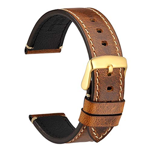 WOCCI Watch Band 20mm, Premium Saddle Style Vintage Leather Watch Strap with Gold Buckle (Gold Brown)