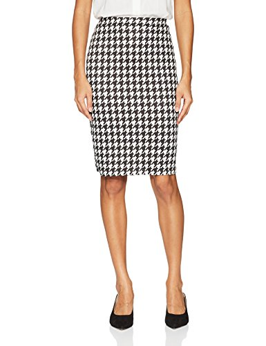 - Star Vixen Women's Below- Below-Knee Pencil Skirt with Back Slit, Black/Ivory Houndstooth Print, L