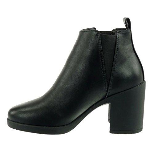 Angkorly - damen Schuhe Stiefeletten - Chelsea Boots - Reitstiefel - Kavalier - Biker - elastisch Blockabsatz high heel 8.5 CM Schwarz Pu