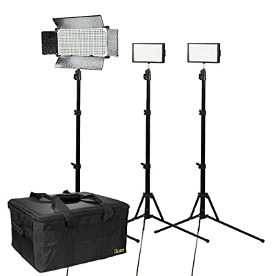 Ikan IDK2315-V2.1 Daylight Location Small Interview Kit with 2 X iLED312-V2 and 1 X ID500-V2 (Black) by Ikan