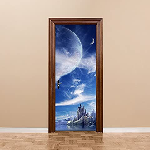 ChezMax 3D Door Mural Art Sticker Removable Self Adhesive Wall Decal for Home Decoration Fantasy Planet Pattern 30.3