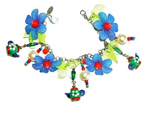 TEA TIME CHARM BRACELET Lampwork Glass Blue Green Red Teapots SILVER Plated