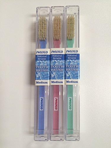 Swissco Tooth Brush Vertical Stripes Natural Bristle Medium,