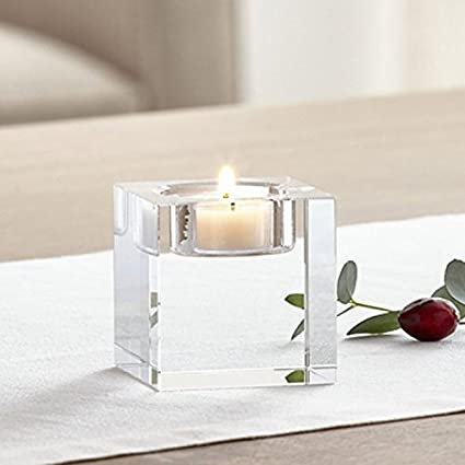 DecentGadget Heavy Clear Crystal Tea Light Holder Cuboid Candle Holder for Party Ceremony Wedding Centerpiece Home Decoration (1.6'')