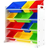 Great Removable White & Primary Toy Storage Organizer with 12 Plastic Bins
