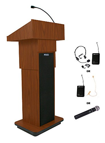 Amplivox Wireless Executive Adjustable-Height Sound Column Lectern - Walnut - (Adjustable Sound Lectern)