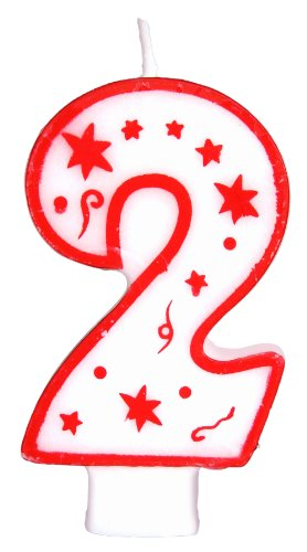 Numeral Birthday Candle with Red Outline, Red Dots and Red Stars (NUMBER 2) (Edible Birthday Numbers compare prices)