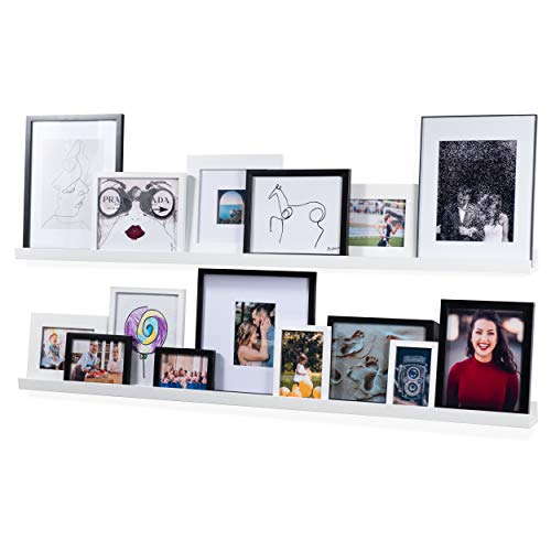 Wallniture Denver Modern Wall Mount Floating Shelves - Long Narrow Picture Ledge - 56 Inch Long White Set of 2 - Mounting Hardware Included