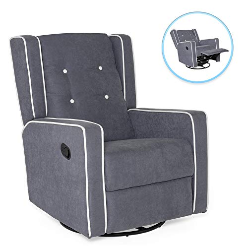 Best Choice Products Mid-Century Modern Tufted Upholstered Swivel Recliner Lounge Rocking Chair for Nursery, Home, Living Room, Study w/ 360-Degree Swivel Base, Full Recline – Gray