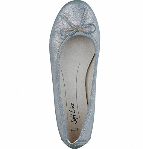 Soft Line Trendige Damen Synthetik Ballerinas Pepper Gold, Weiche Decksohle, Extra Weite H, 1336103/36 Metallicfarben