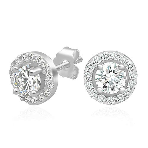 (925 Sterling Silver Round Brilliant Cut Cubic Zirconia Halo Stud Earrings Center Stone 4mm)