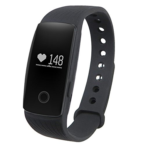 GBlife Sports Smart Bracelet with Heart Rate Monitor Remote Camera Water-resistant (Black )