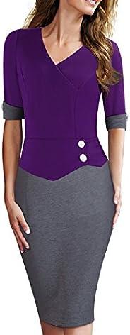 HOMEYEE Women's Official Wear to Work Half Sleeve V Neck Pencil Bodycon Dress