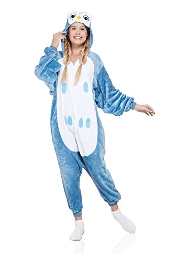 Adult Owl Kigurumi Animal Onesie Pajamas Plush One Piece Cosplay Costume (Small, Blue)